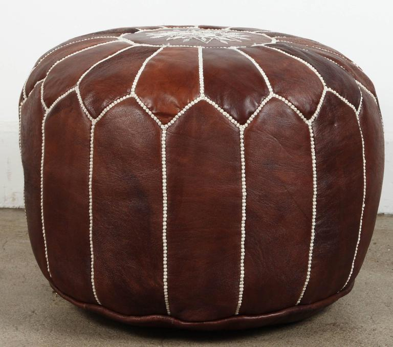 20th Century Moroccan Brown Hand Tooled Leather Pouf For Sale