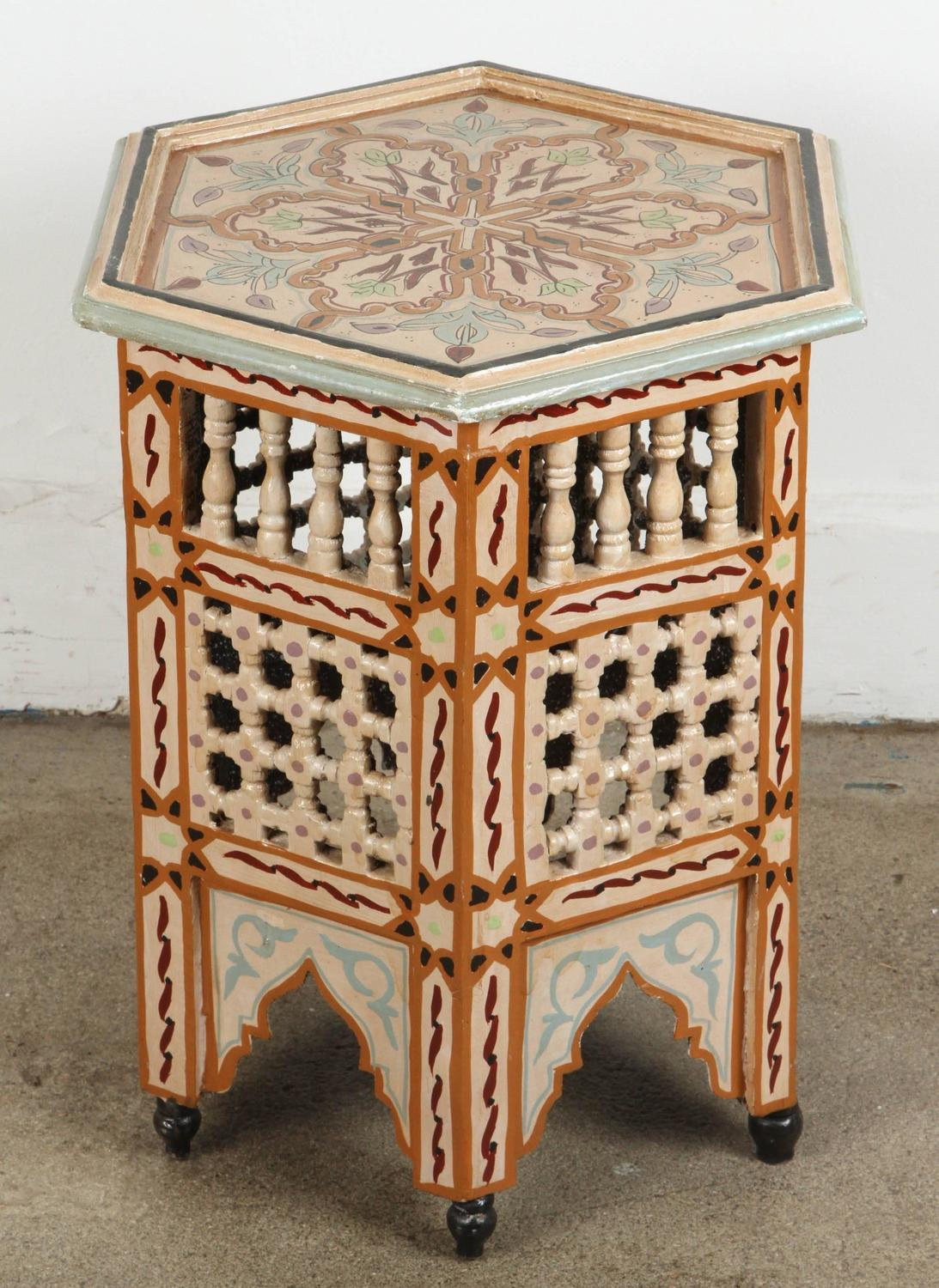 Pair of moroccan hand painted tabourets at 1stdibs for Moroccan hand painted furniture