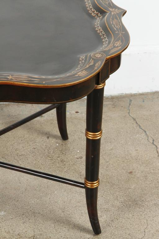 Hand Painted Black Tray Coffee Table By Maitland Smith 3