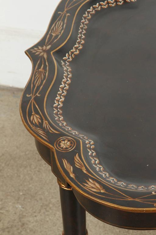 American Hand-Painted Black Tray Coffee Table by Maitland-Smith For Sale