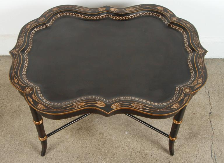 Hand-Crafted Hand-Painted Black Tray Coffee Table by Maitland-Smith For Sale