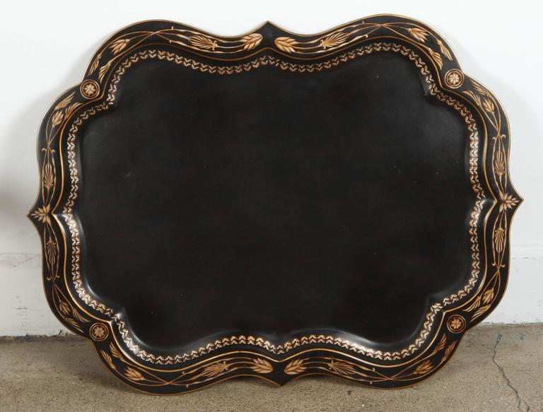 20th Century Hand-Painted Black Tray Coffee Table by Maitland-Smith For Sale