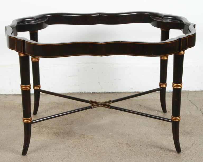 Wood Hand-Painted Black Tray Coffee Table by Maitland-Smith For Sale