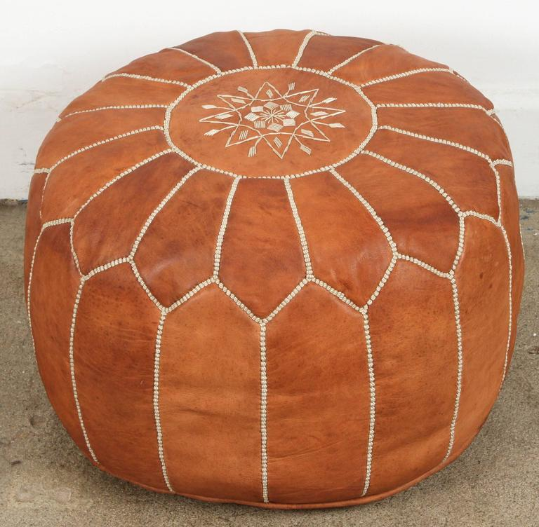 Moroccan Handcrafted Leather Camel Ottoman In Good Condition For Sale In North Hollywood, CA
