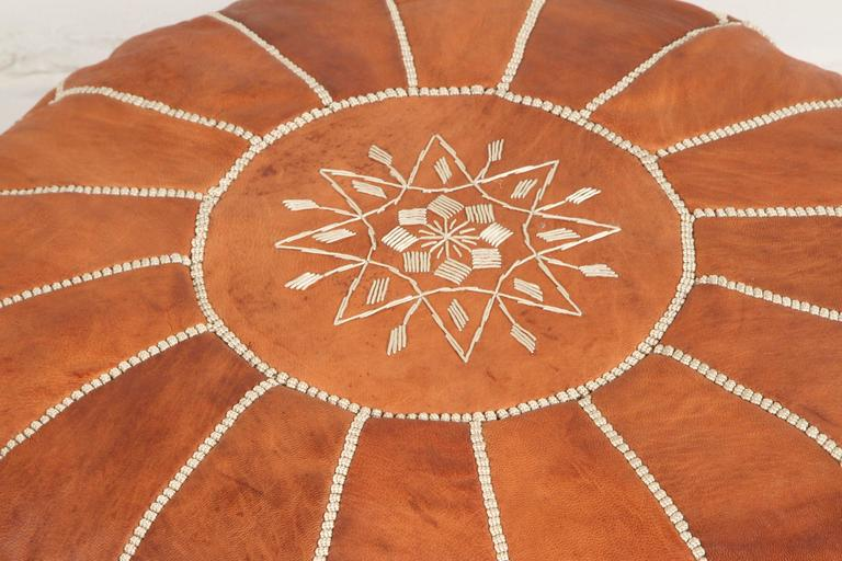 Late 20th Century Moroccan Handcrafted Leather Camel Ottoman For Sale