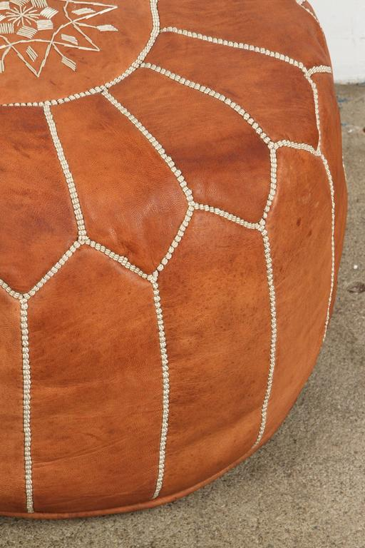 Moroccan Handcrafted Leather Camel Ottoman For Sale 1