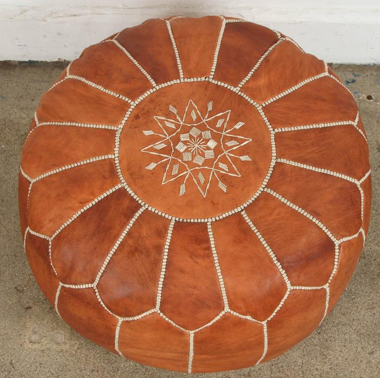Moroccan Handcrafted Leather Camel Ottoman For Sale 2