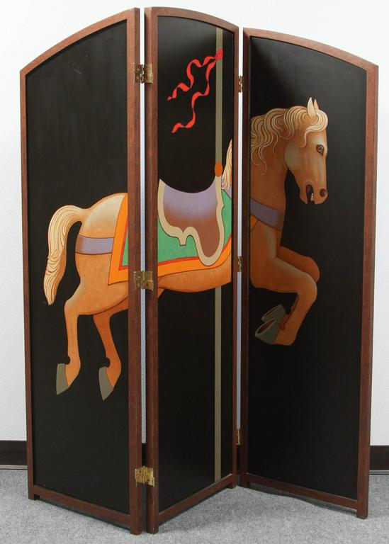 Wood Beautiful Hand-Painted Folding Screen with Carousel Horse by Lynn Curlee For Sale