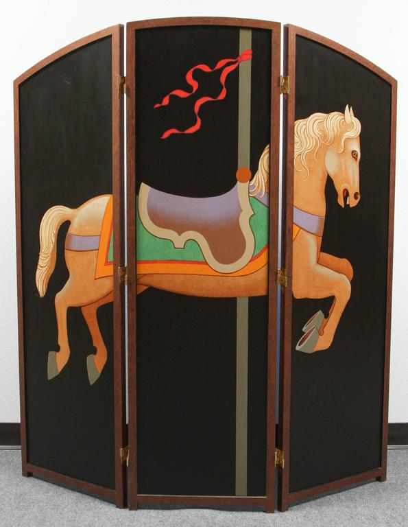 Beautiful Hand-Painted Folding Screen with Carousel Horse by Lynn Curlee For Sale 1