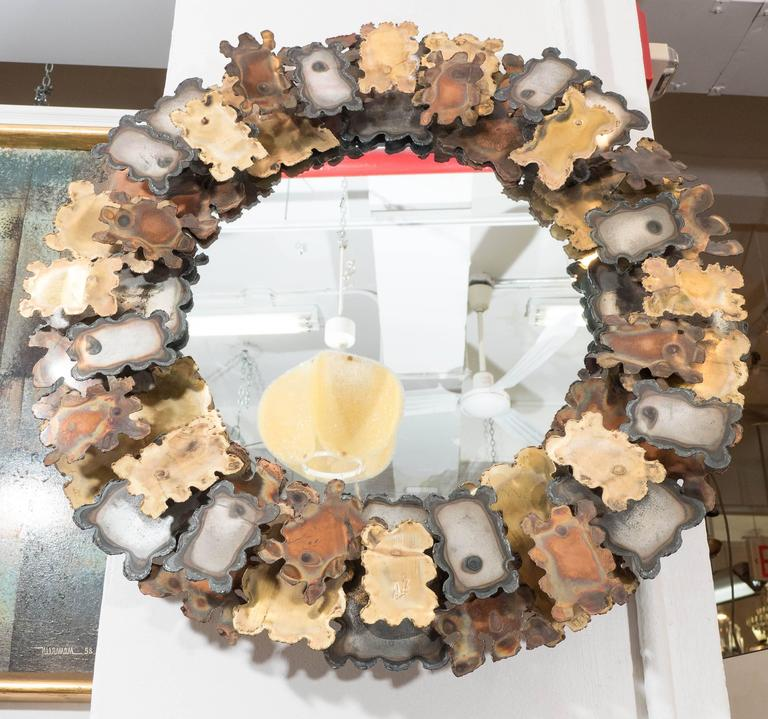 Round Brutalist Wall Mirror with Mixed Metal Frame in the Style of Silas Seandel 5