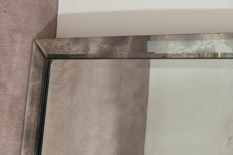Long Rectangular Wall Mirror In Beveled Distressed Glass