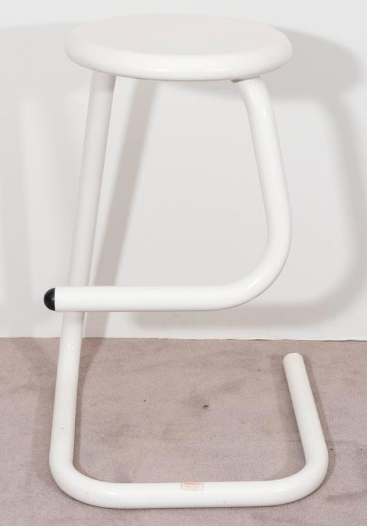 pair of white tubular paperclip bar stools for amisco 2 - Amisco Bar Stools