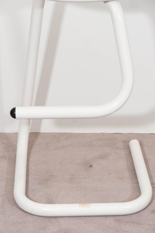 Pair Of White Tubular Paperclip Bar Stools For Amisco For