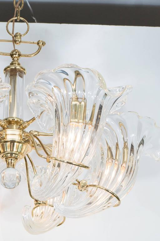 Italian Mid-Century Franco Luce Murano Glass Cornucopia Chandelier with Brass Frame For Sale