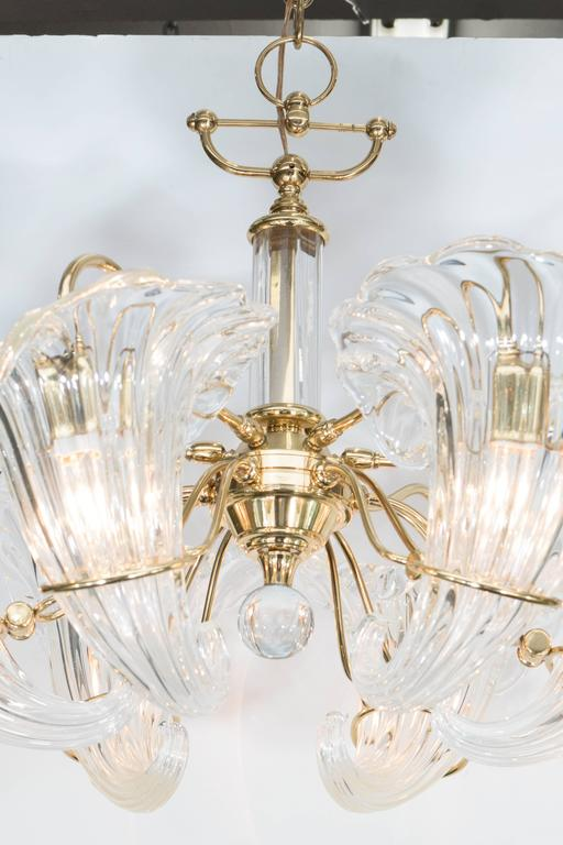 Mid-Century Franco Luce Murano Glass Cornucopia Chandelier with Brass Frame In Good Condition For Sale In New York, NY
