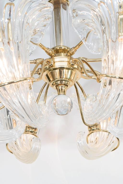 Late 20th Century Mid-Century Franco Luce Murano Glass Cornucopia Chandelier with Brass Frame For Sale