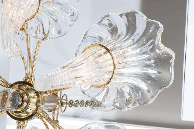 Mid-Century Franco Luce Murano Glass Cornucopia Chandelier with Brass Frame For Sale 3