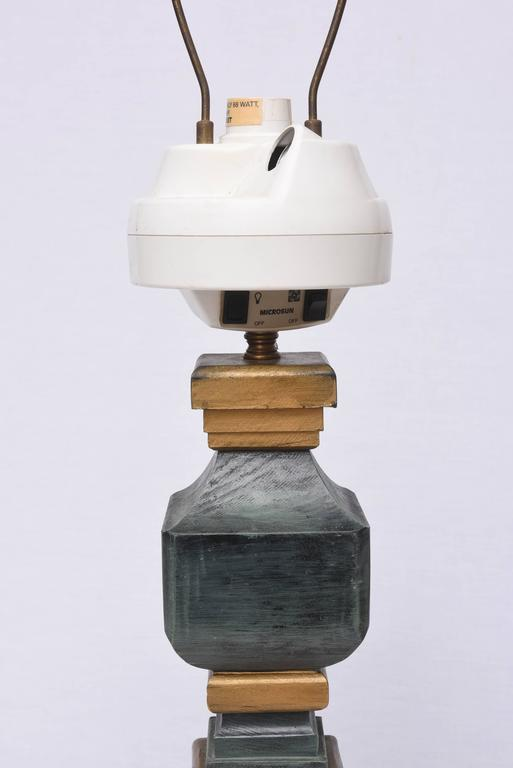 Mid-Century Modern Monumental Wooden Table Lamps, 1960s, USA For Sale