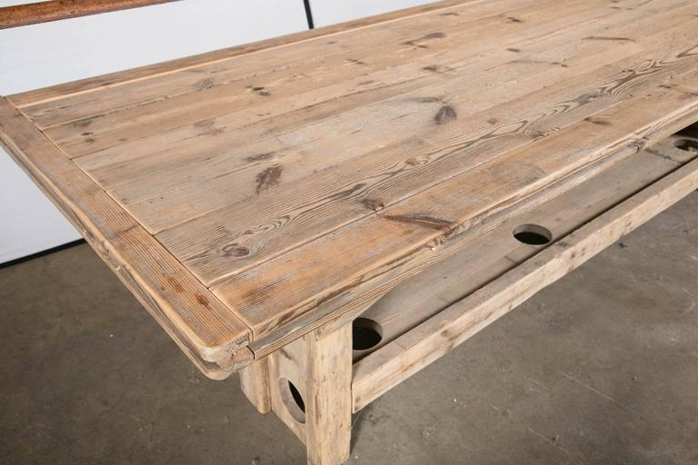 Belgian Trestle Base Harvest Table For Sale