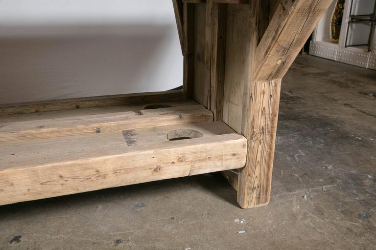 Oak Trestle Base Harvest Table For Sale