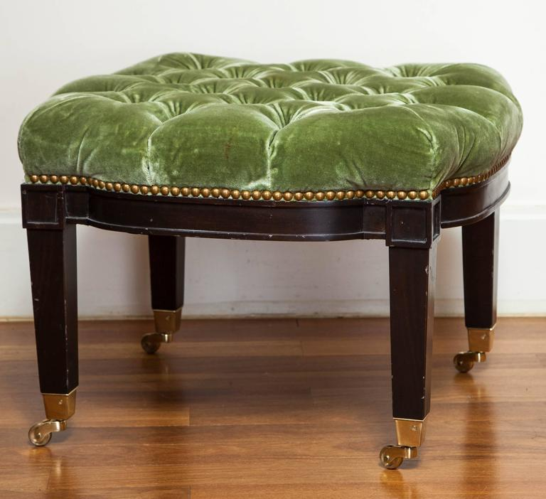 Green Tufted Ottoman On Casters At 1stdibs