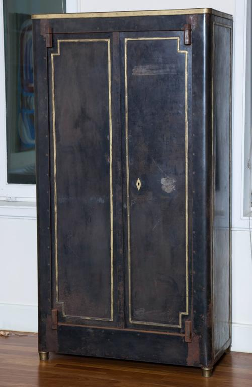 French Blackened Metal Armoire with Bronze Accents For Sale