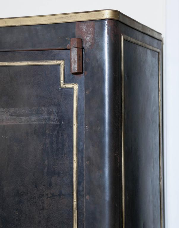 Blackened Metal Armoire with Bronze Accents In Fair Condition For Sale In Chicago, IL