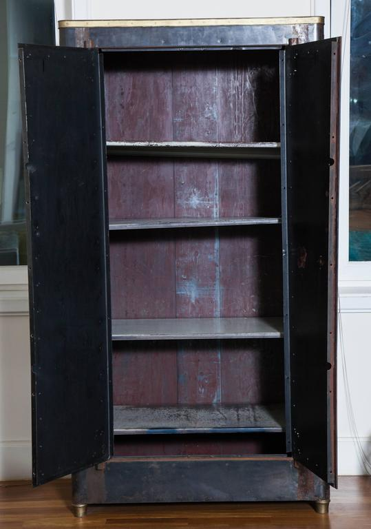20th Century Blackened Metal Armoire with Bronze Accents For Sale