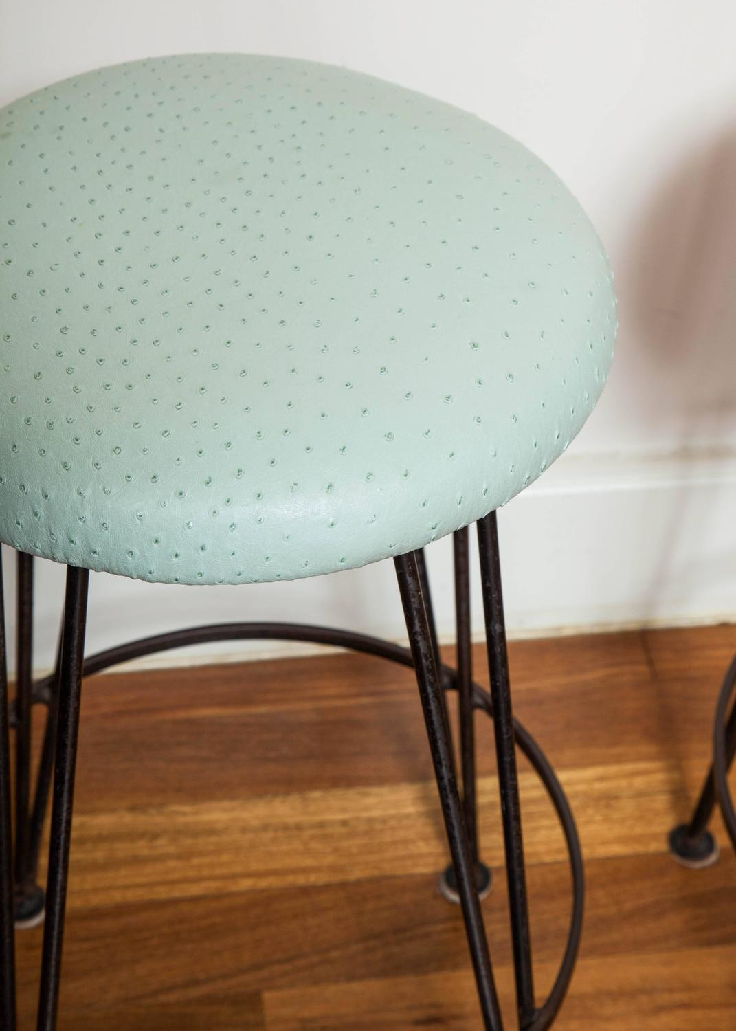 Set Of Six Wrought Iron Bar Stools With Mint Green Ostrich