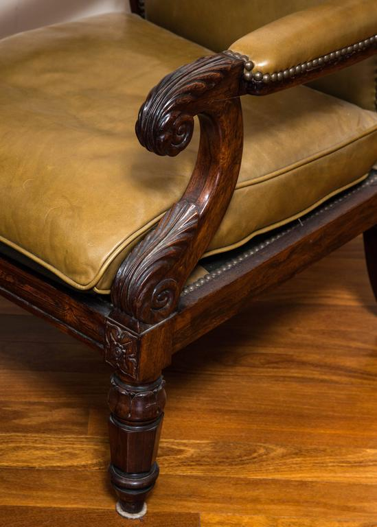 Regal William IV Carved Rosewood Library Chair In Excellent Condition For Sale In Chicago, IL