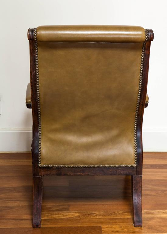 Regal William IV Carved Rosewood Library Chair For Sale 2