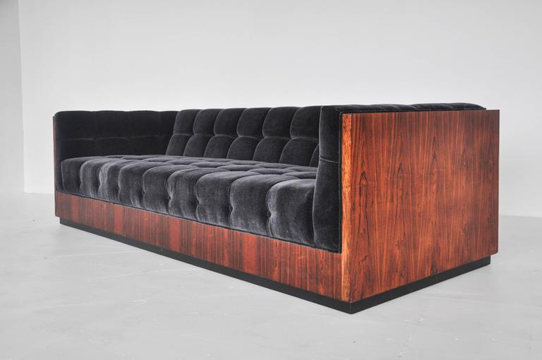 20th Century Milo Baughman Rosewood Case Sofa For Sale
