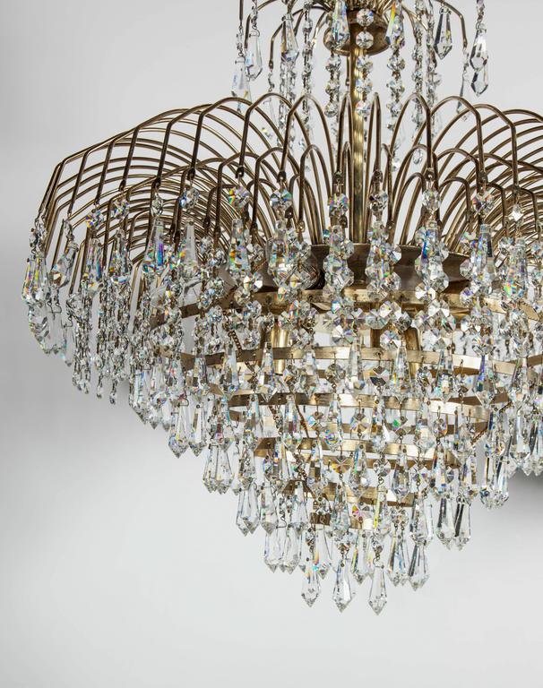 American Spectacular Hollywood Regency Cut Crystal Chandelier For Sale