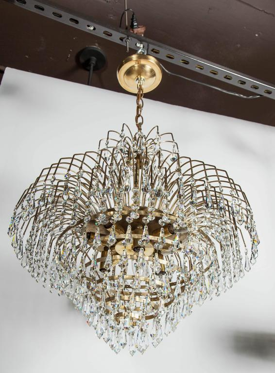 Spectacular Hollywood Regency Cut Crystal Chandelier In Excellent Condition For Sale In Stamford, CT