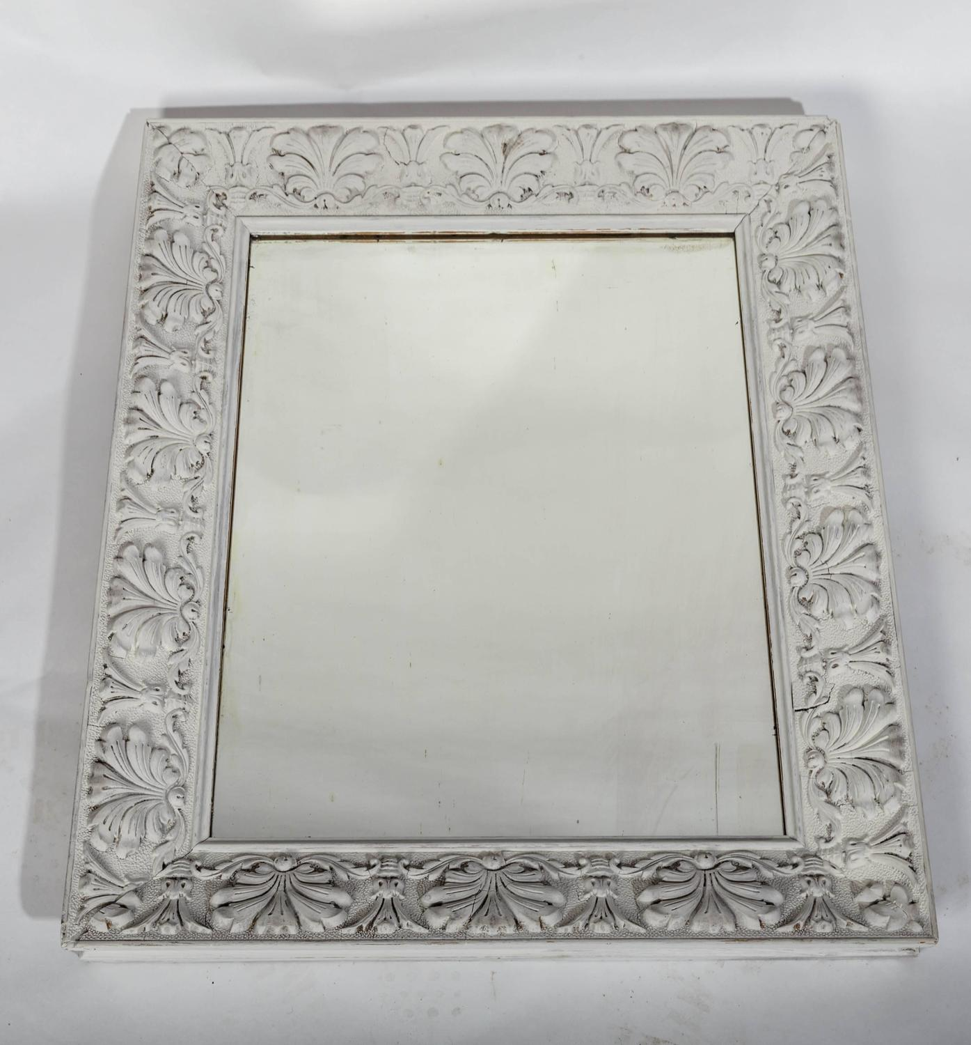 Empire style distressed pale grey frame with antique for Mirror frame styles
