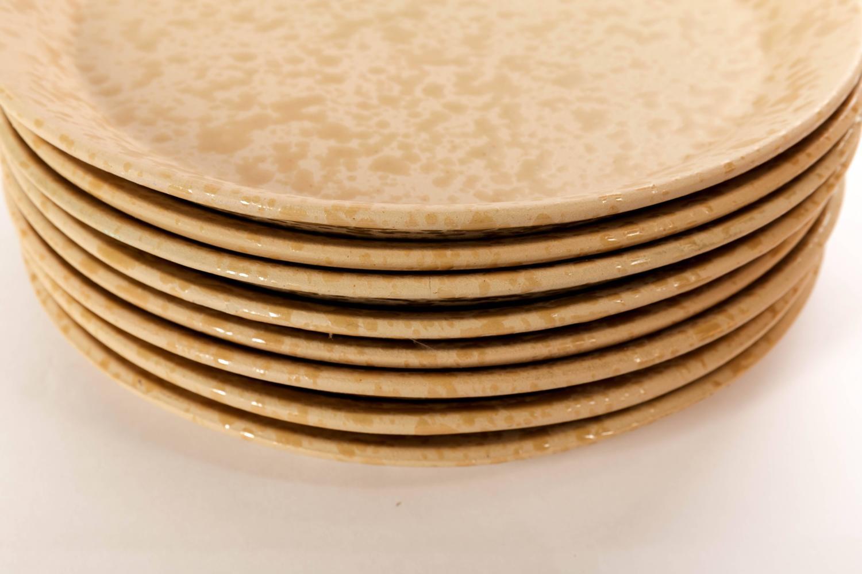 eight bennington potters handmade agate tawny tan dinner