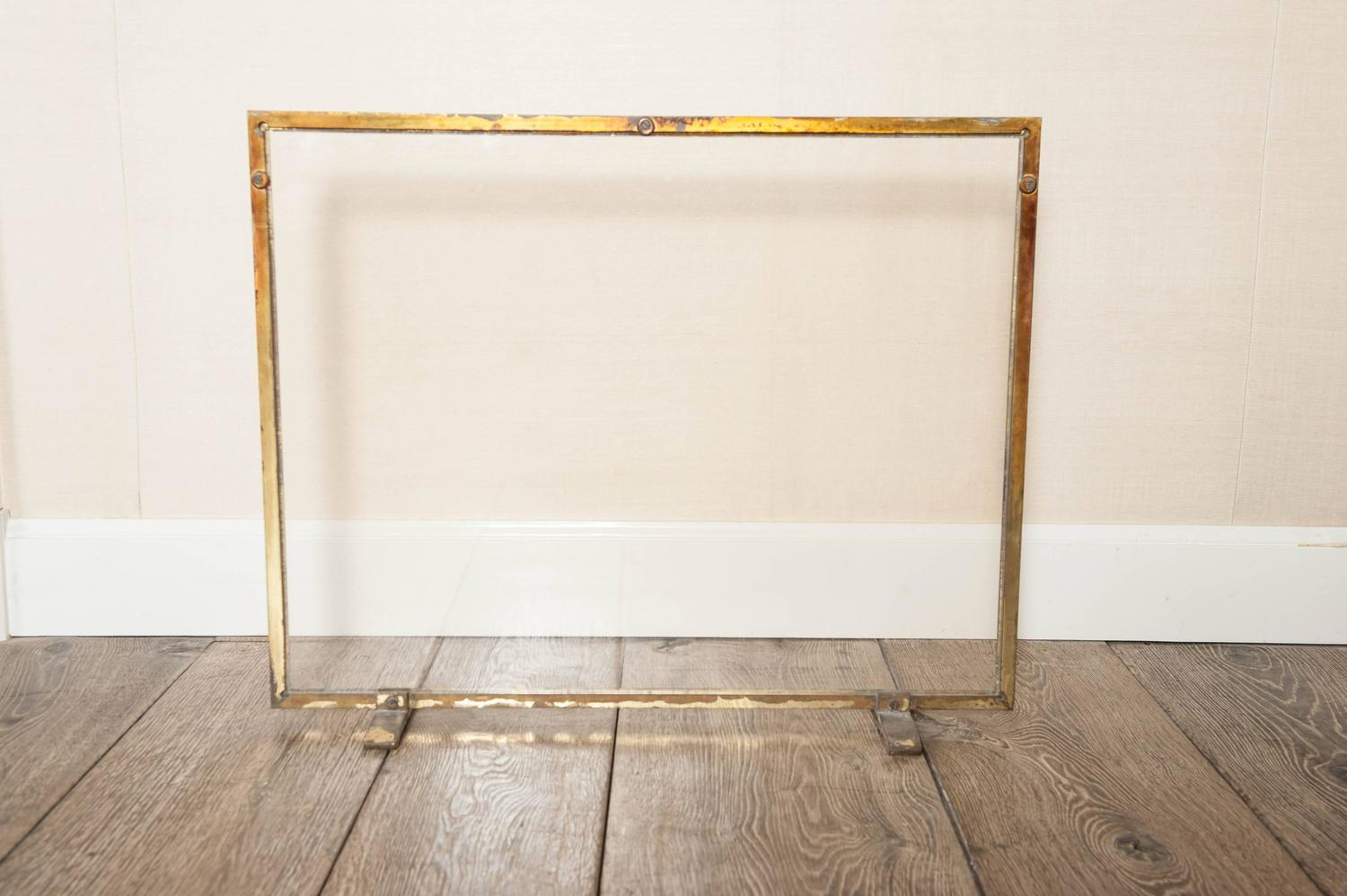french hollywood regency brass and glass fire screen at 1stdibs