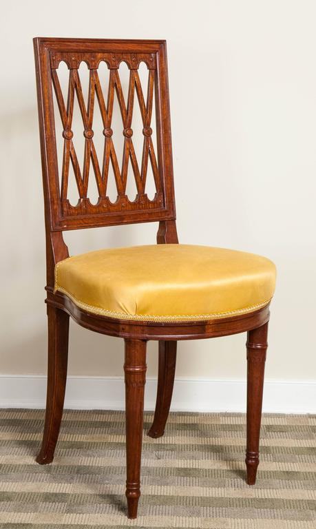 20th Century Set of Six Louis XVI Style Mahogany Side Chairs For Sale