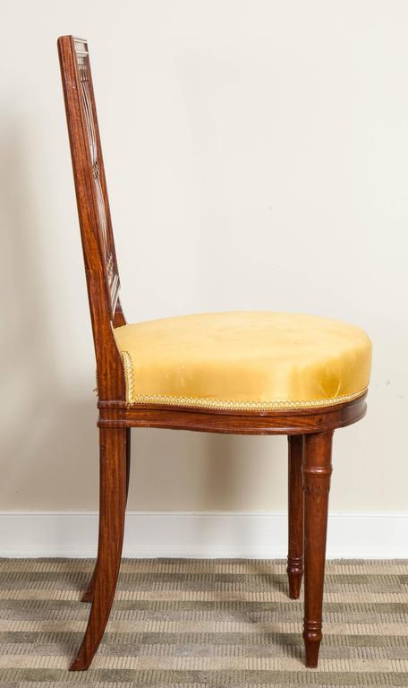 Set of Six Louis XVI Style Mahogany Side Chairs For Sale 1