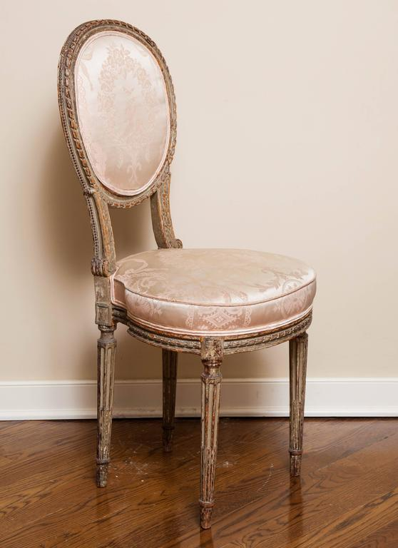 French Louis XVI Style Side Chair, 19th Century For Sale