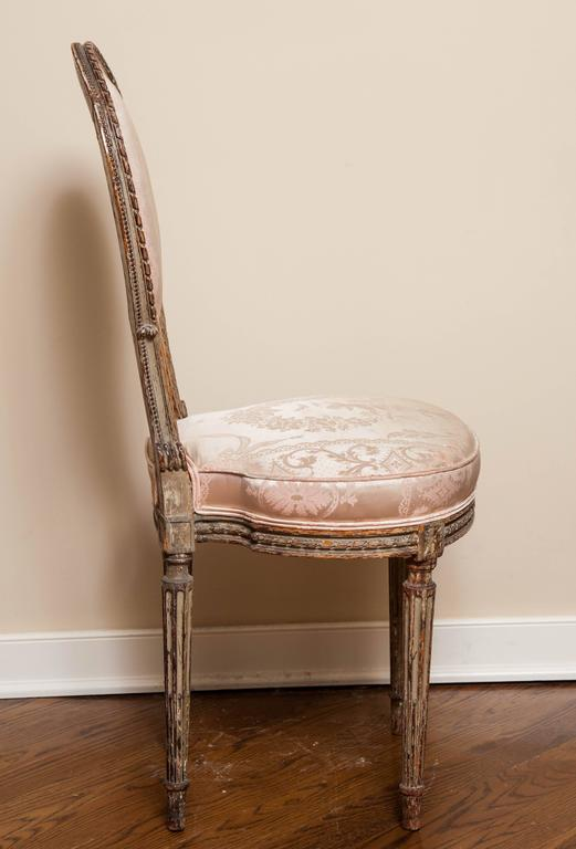 Carved Louis XVI Style Side Chair, 19th Century For Sale