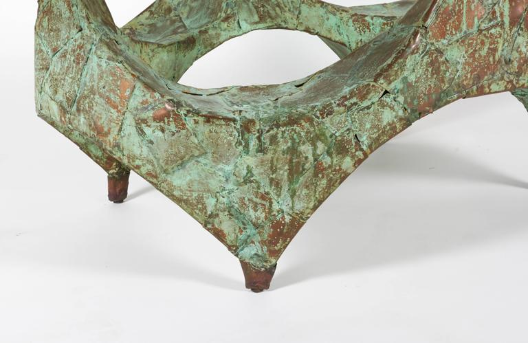 American Paul Evans Hand-Hammered and Patinated Copper Studio Coffee Table, USA, 1960s For Sale