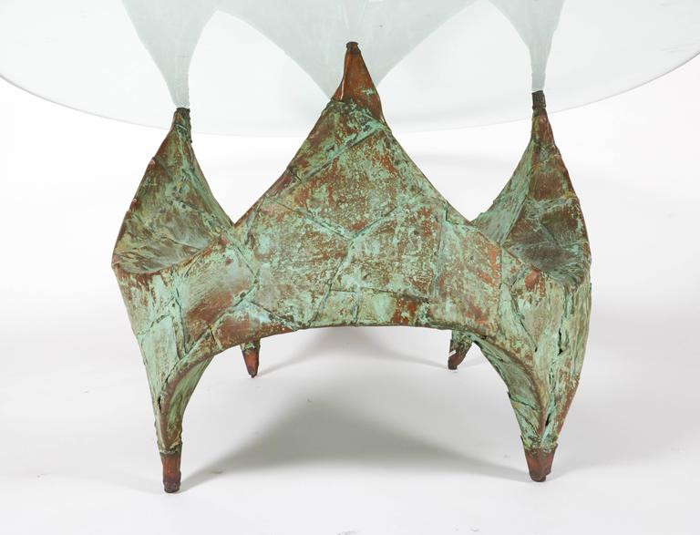 Glass Paul Evans Hand-Hammered and Patinated Copper Studio Coffee Table, USA, 1960s For Sale