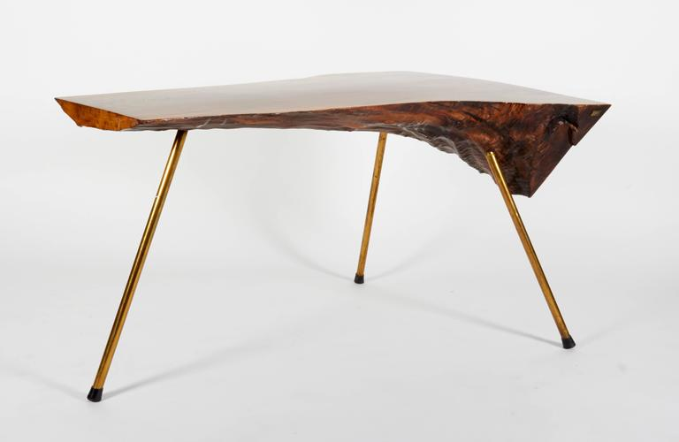 Carl Auböck Walnut Tree Trunk Table with Brass Legs, Austria, 1950s In Good Condition For Sale In New York, NY