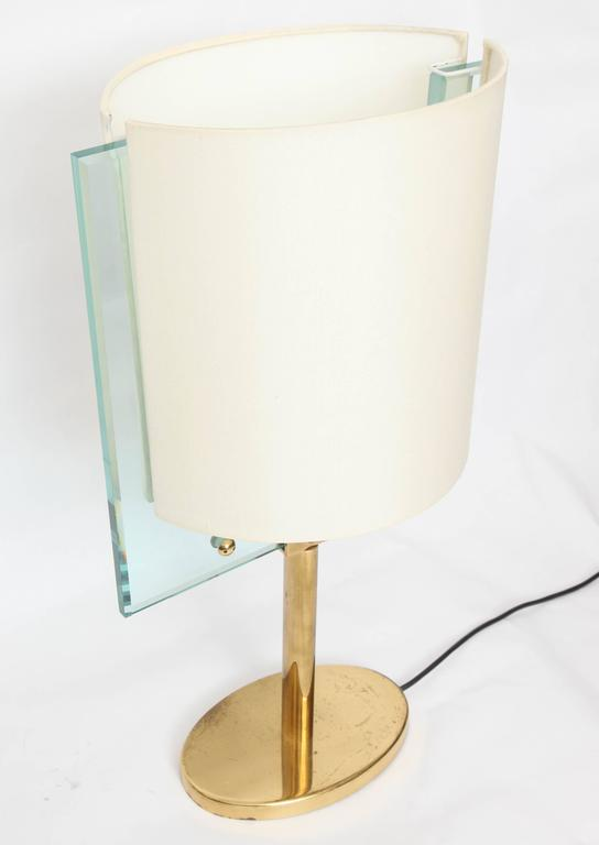 Italian Glass and Brass Table Lamp by Fontana Arte For Sale 1