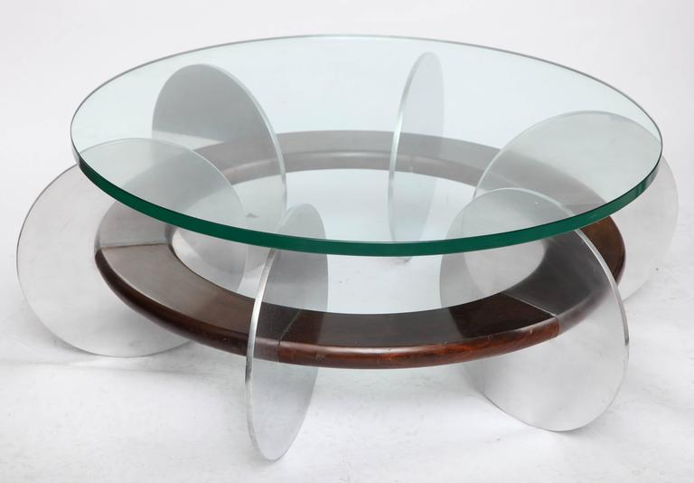 Mid-Century Modern coffee table 1970s polished aluminum and wood, measure: 3/4