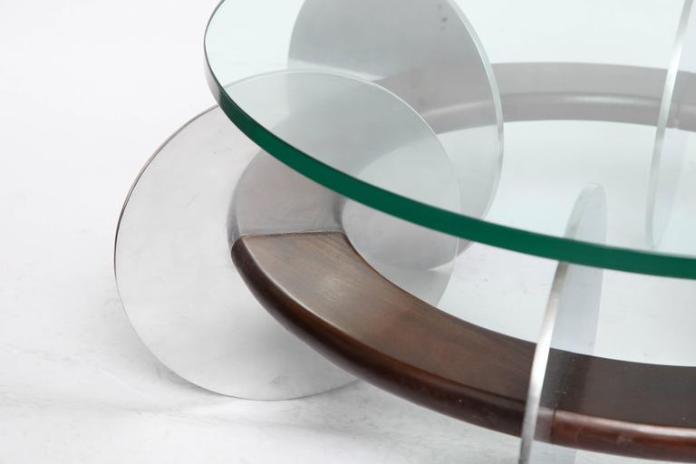 American Mid-Century Modern Coffee Table 1970s Polished Aluminium and Wood Glass Top For Sale