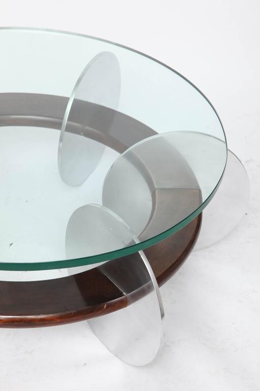 Lacquered Mid-Century Modern Coffee Table 1970s Polished Aluminium and Wood Glass Top For Sale