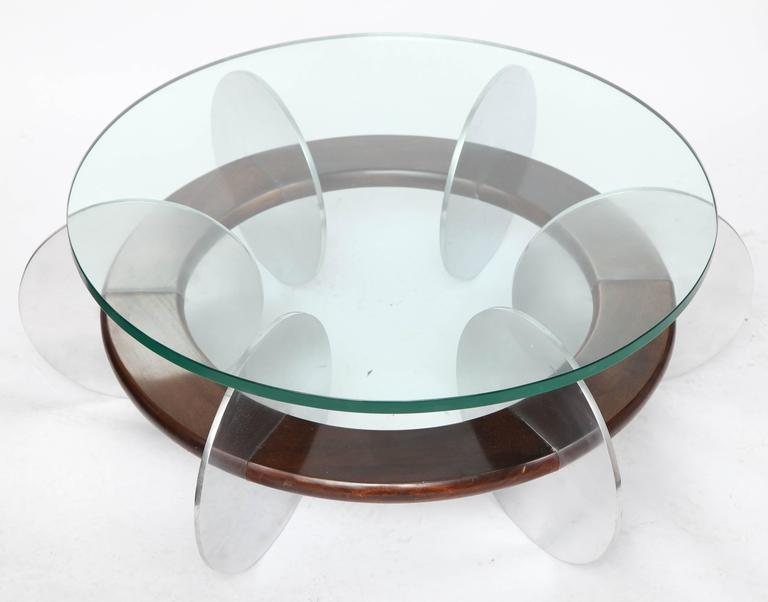 Mid-Century Modern Coffee Table 1970s Polished Aluminium and Wood Glass Top In Good Condition For Sale In New York, NY