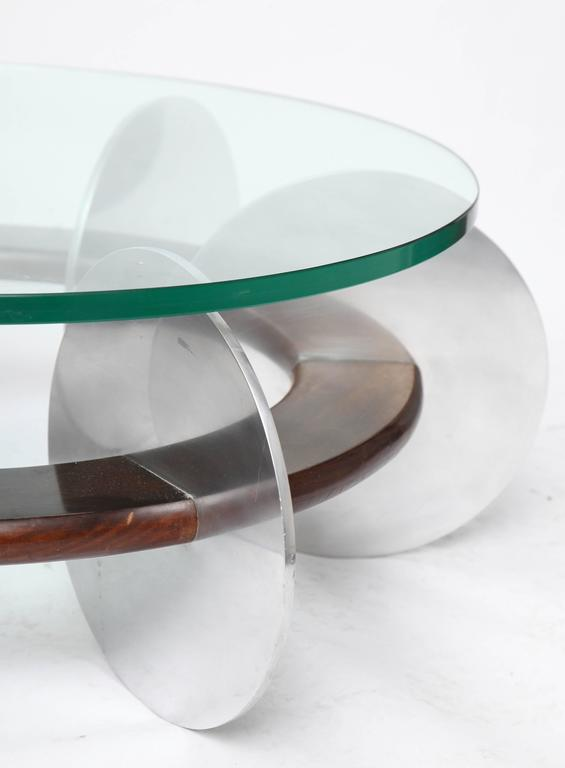 Aluminum Mid-Century Modern Coffee Table 1970s Polished Aluminium and Wood Glass Top For Sale